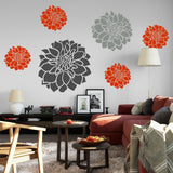 Variety of flower decals in Sunrise Red, Slate Grey & Grey