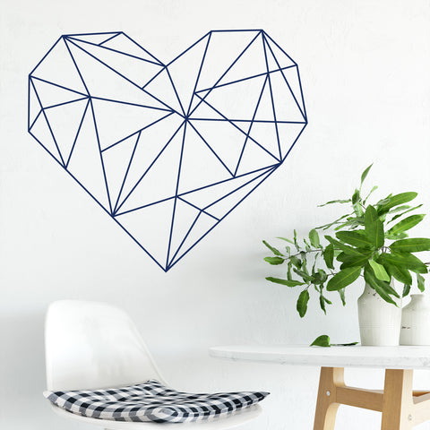 Navy Geometric Heart Decal