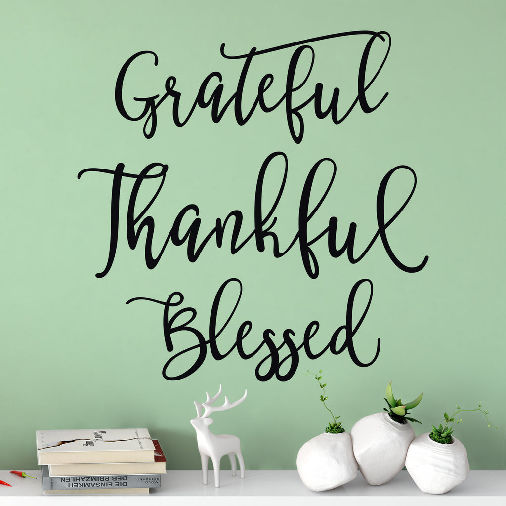 grateful thankful blessed modern home wall quote decal dee cal