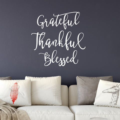 White Grateful Thankful Blessed Wall Decal