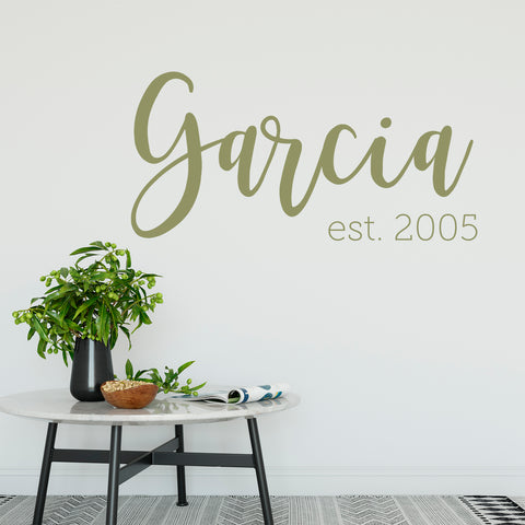 Example of our Family Name Est Year in Olive vinyl