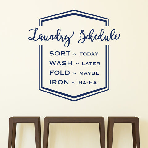 Laundry Schedule Vinyl Wall Decal