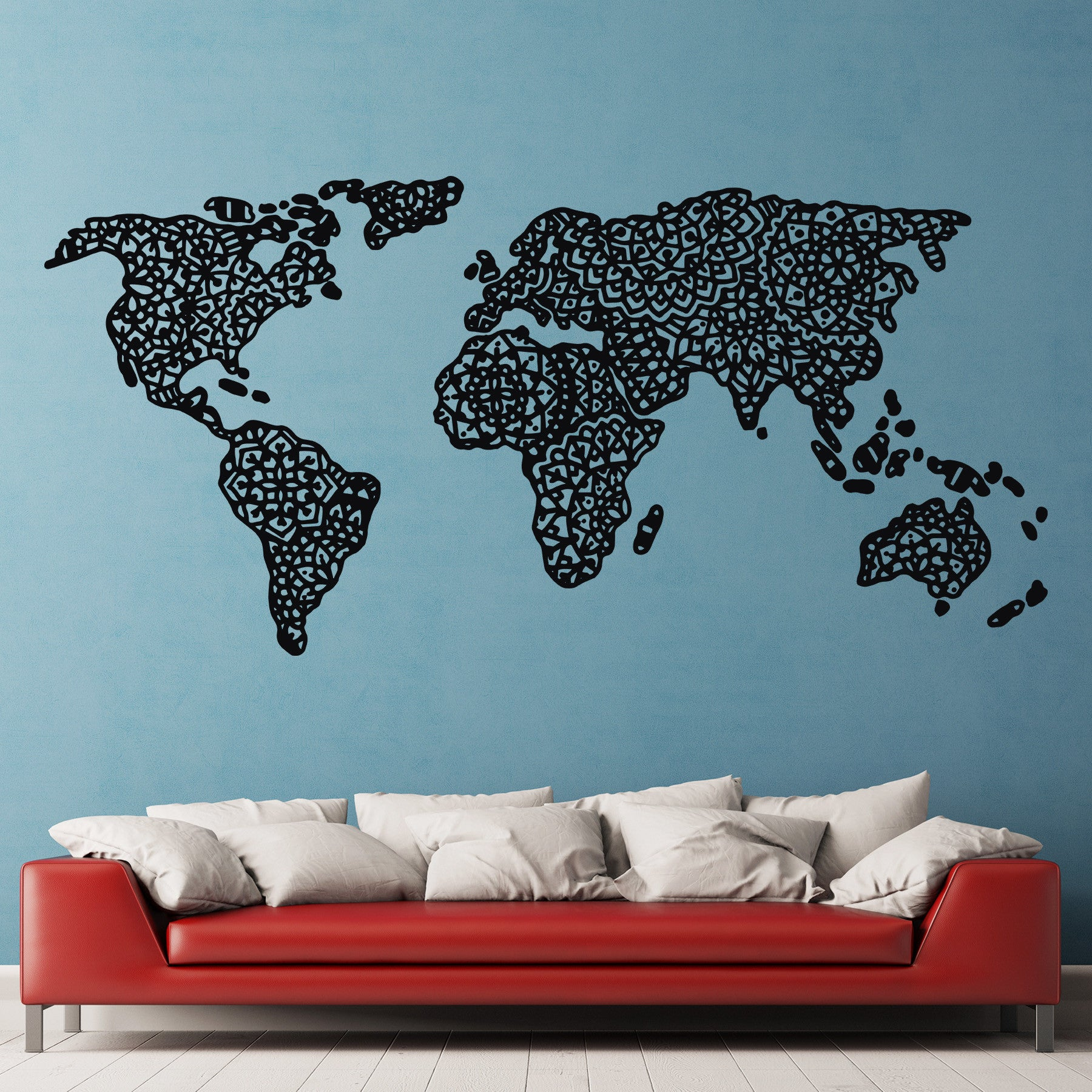 Mandala World Map Vinyl Decal / Wall Decal – Dee cal Frenzy Wall Decor