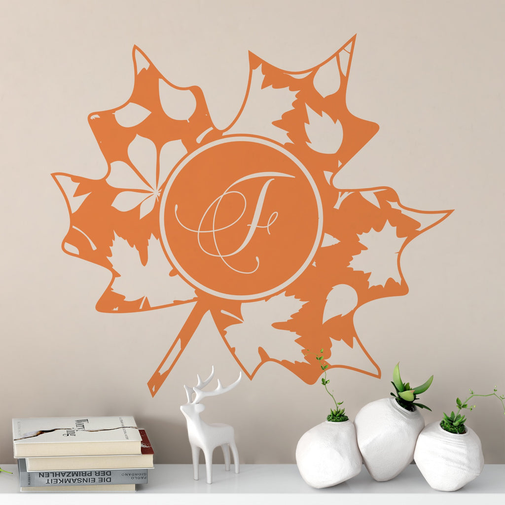 Sienna Leaf Monogram Decal
