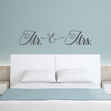 Slate Grey Mr. & Mrs. Bedroom Decal