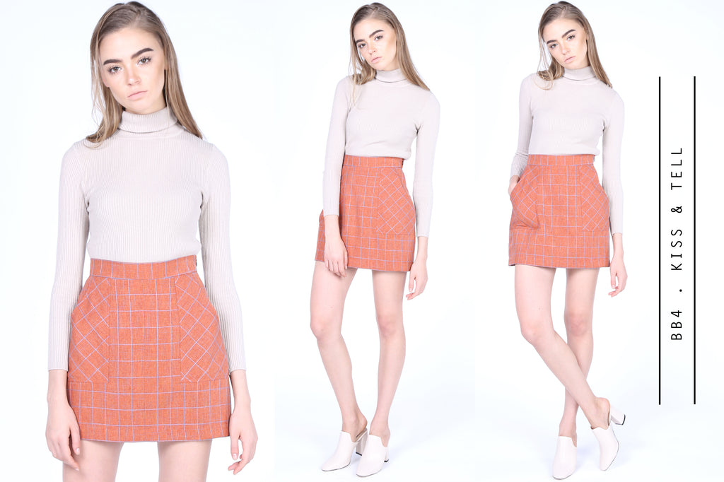 Kiss & Tell Mini Skirt in Tan Plaids