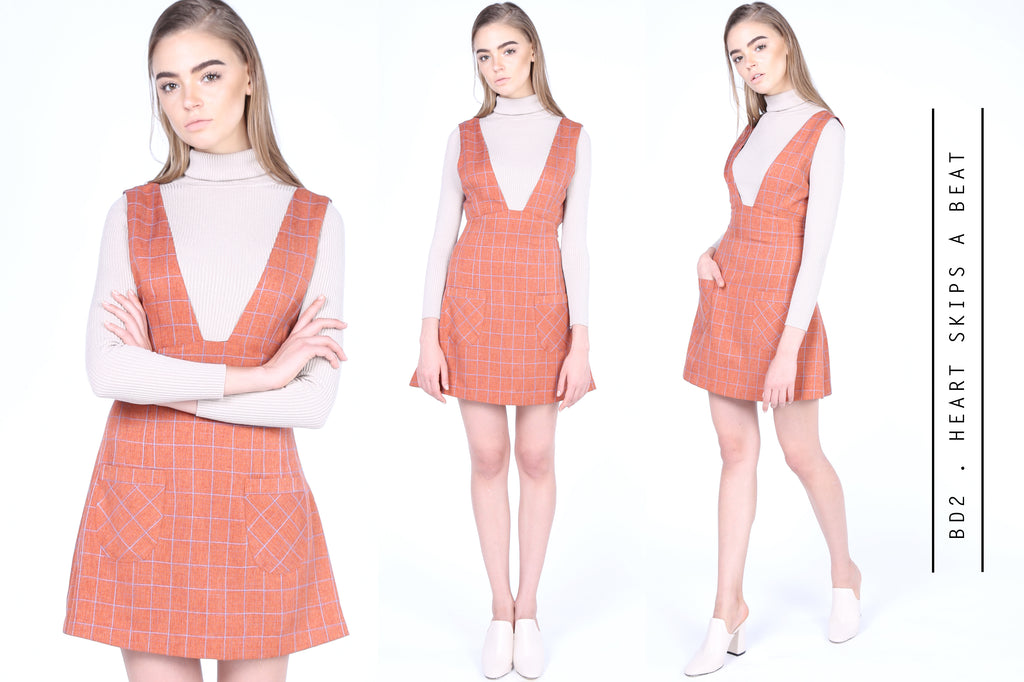 Tan Plaids Pinafore Dress