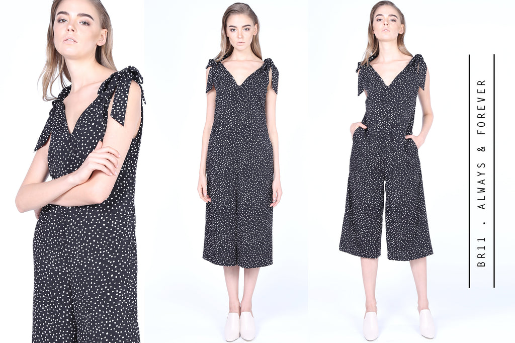 Spotty Jumpsuits with Bow Tie Straps