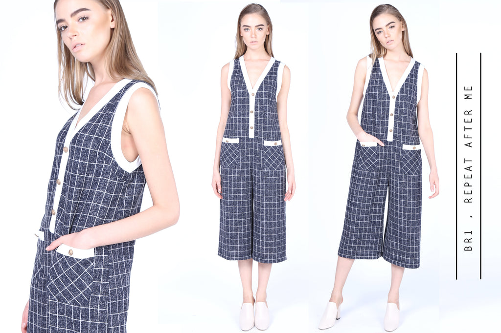 Plaids Jumpsuits with Gold Buttons