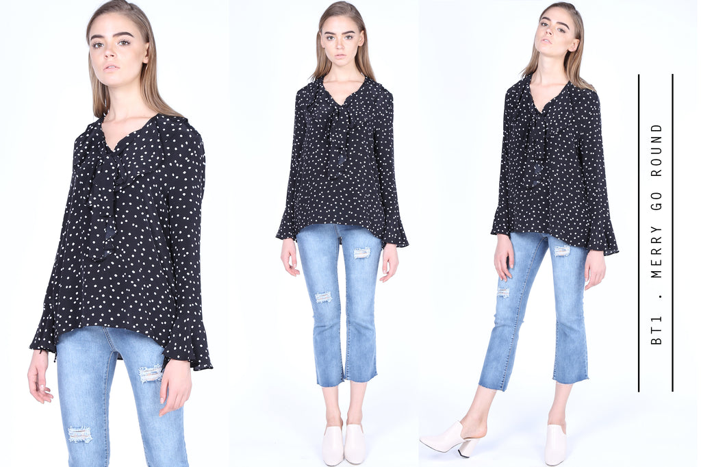 Spotty blouse with frill collar