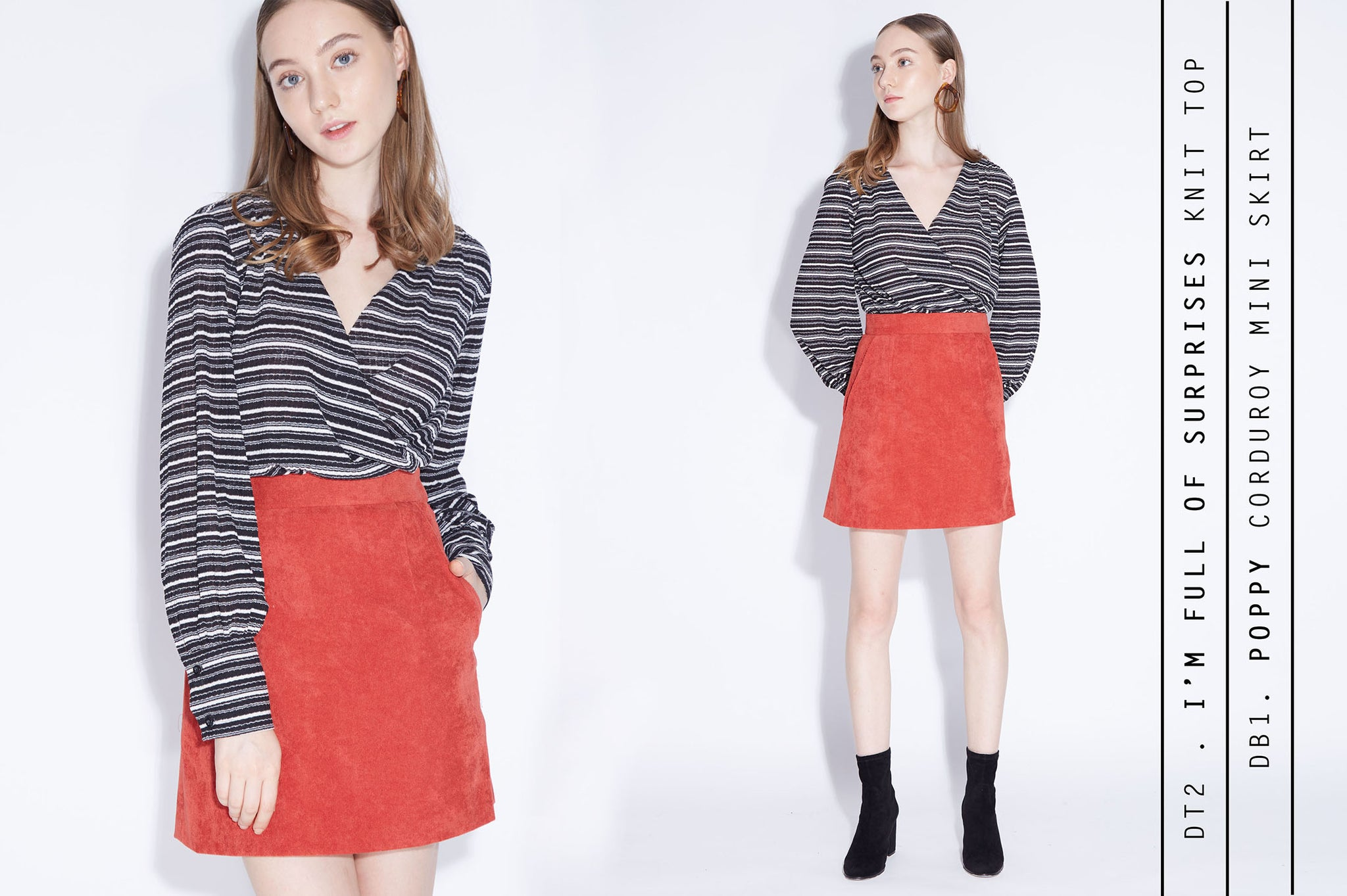 I'M FULL OF SURPRISES Stripes Top + POPPY LOVE Skirt