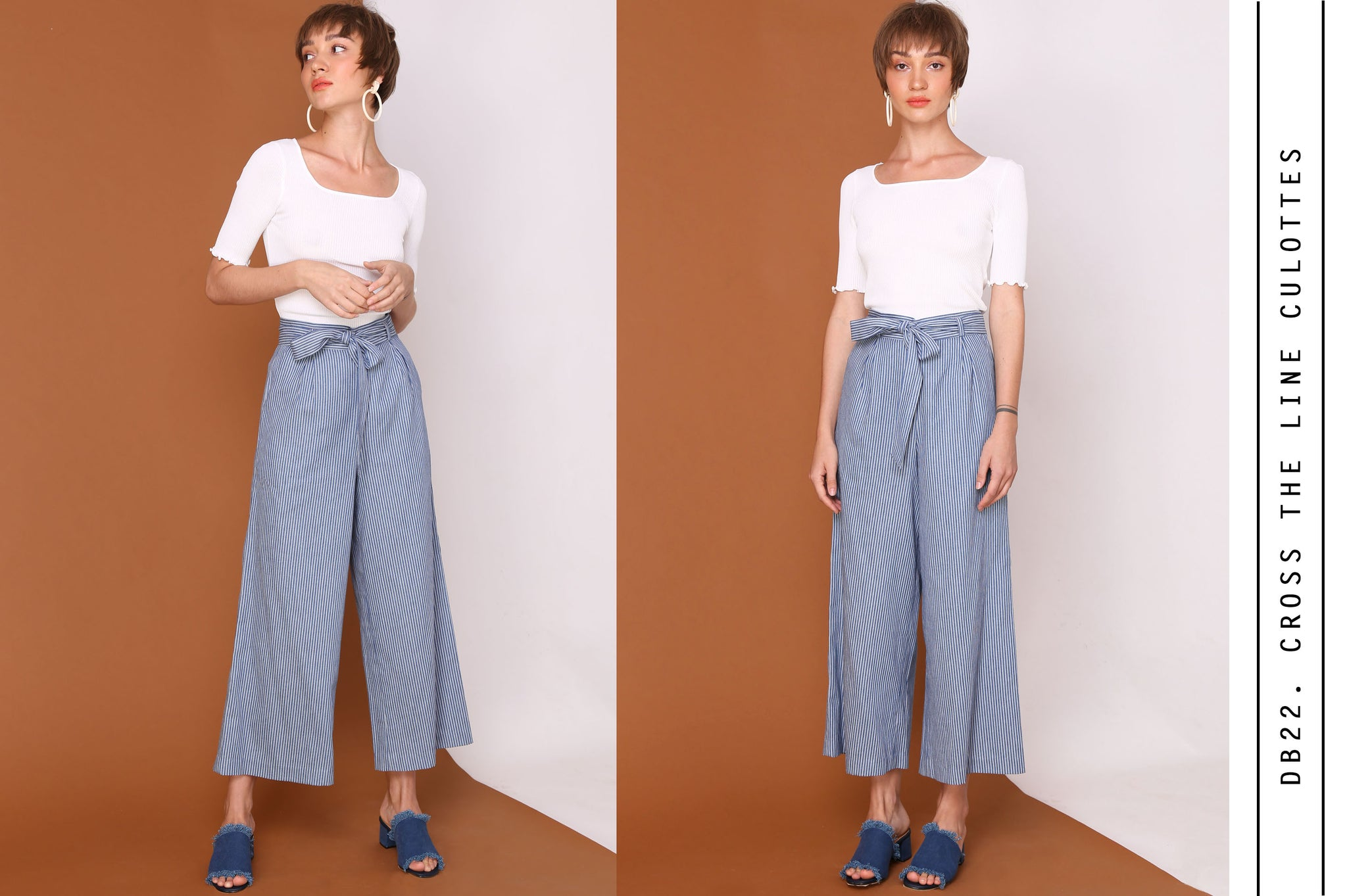 CROSS THE LINE Stripes Denim Blue Culottes Pants