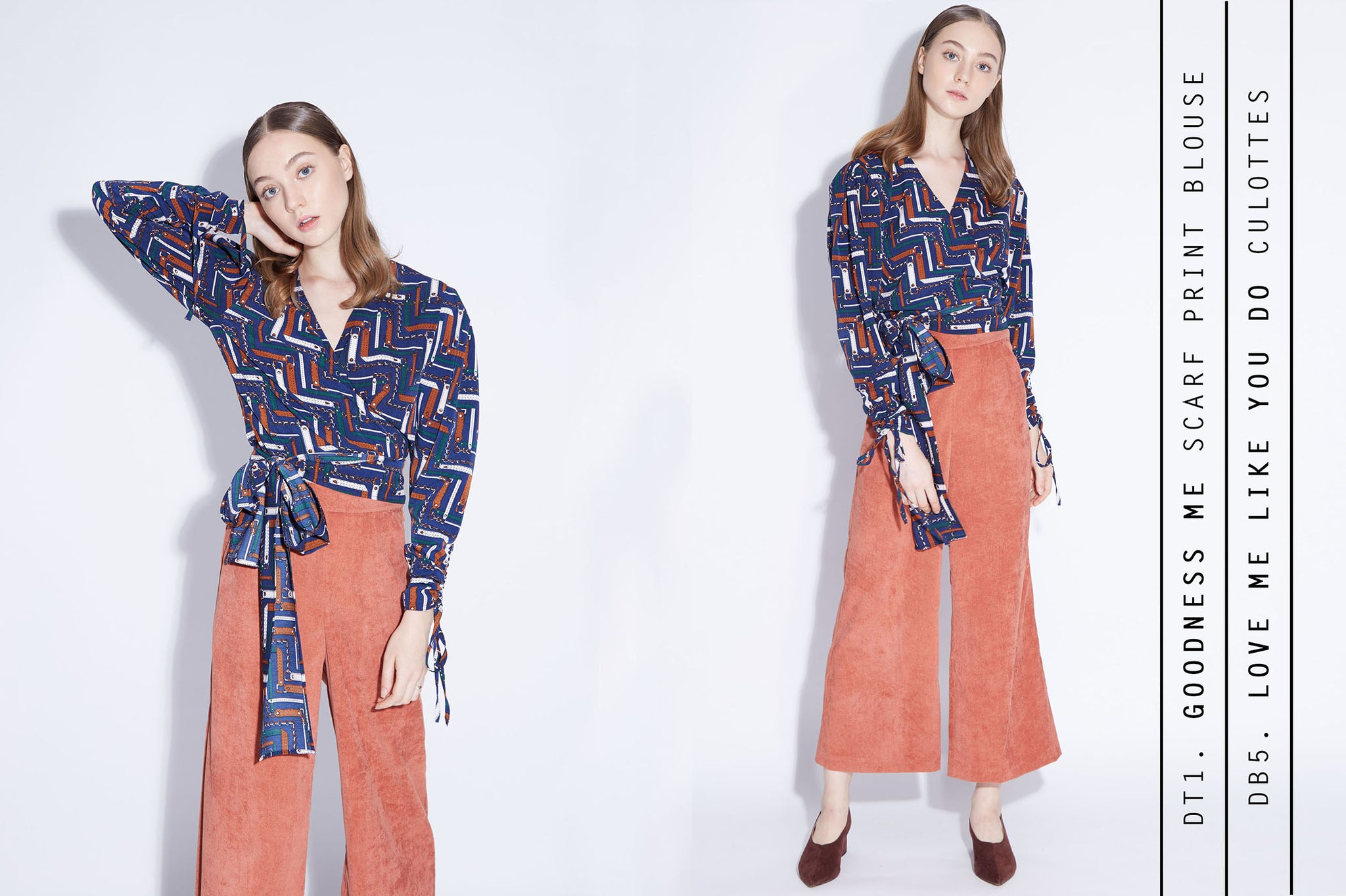 Goodness me scarf print blouse + Love Me Like You Do Culottes in brick corduroy