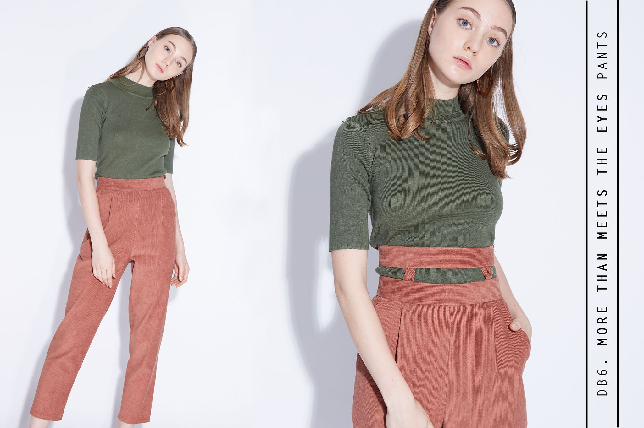 MORE THAN MEETS THE EYSE Peg Leg Pants in Brick Corduroy