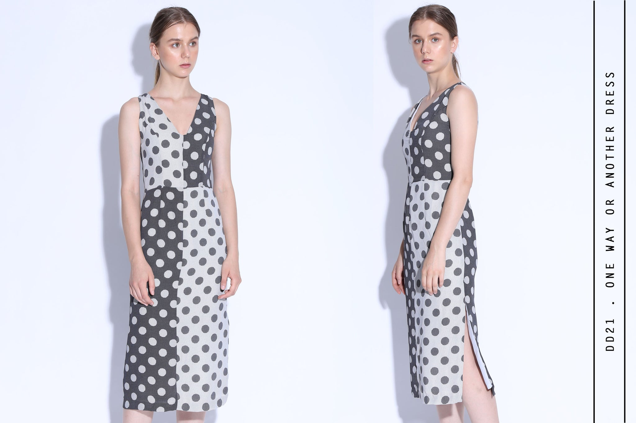 ONE WAY OR ANOTHER Polkadot 2 Tone Patchwork Midi Dress