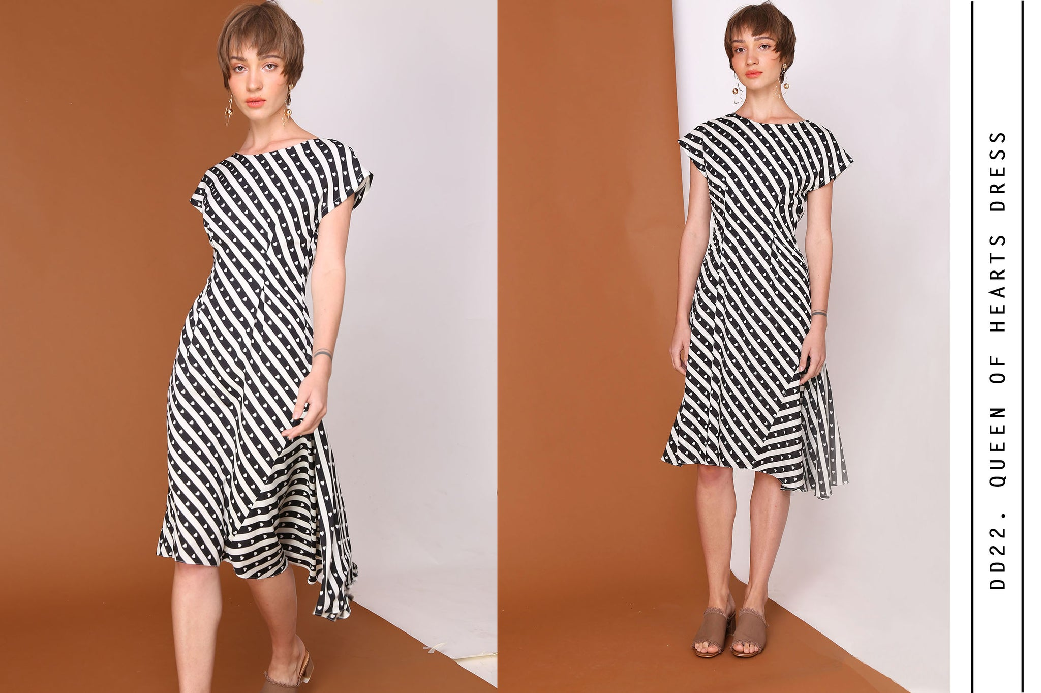 QUEEN OF HEARTS Stripes & Heart Print Asymmetrical Dress