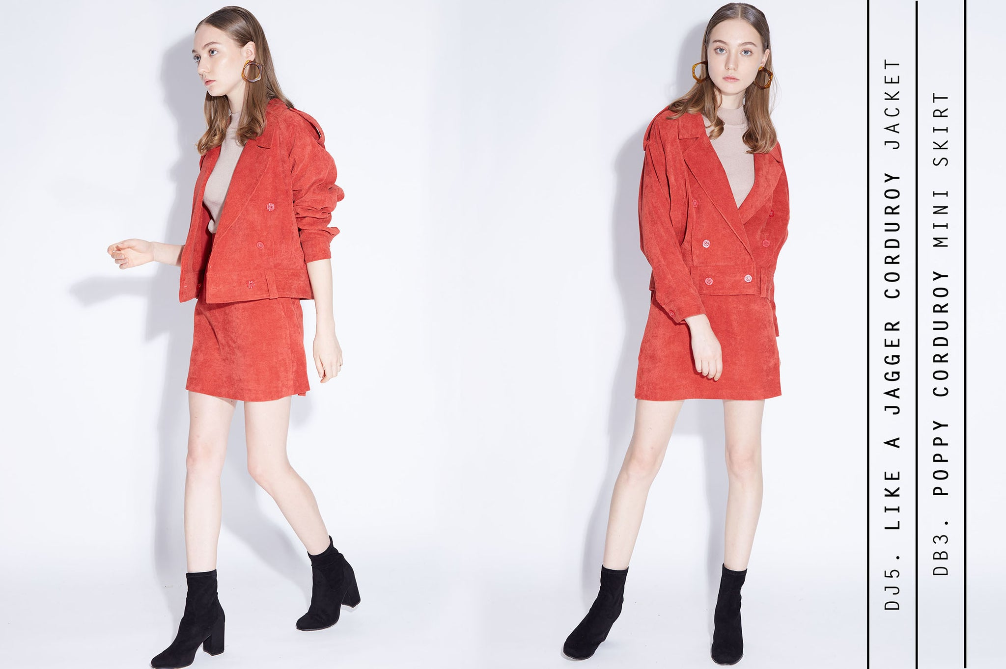 LIKE A JAGGER Jacket + POPPY LOVE mini skirt in bright red corduroy