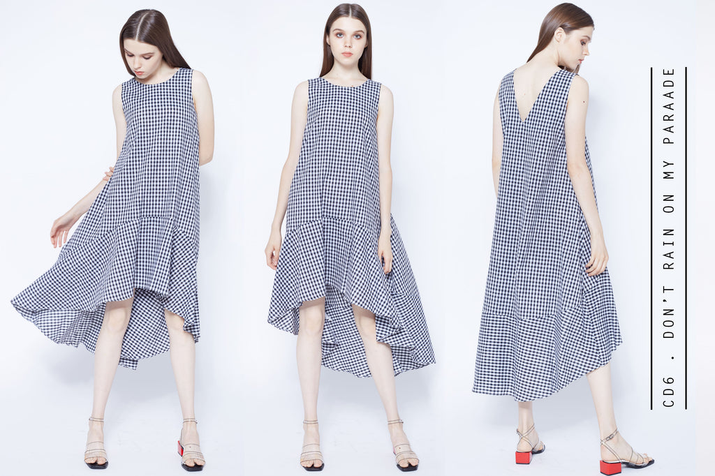 Gingham dip hem dress