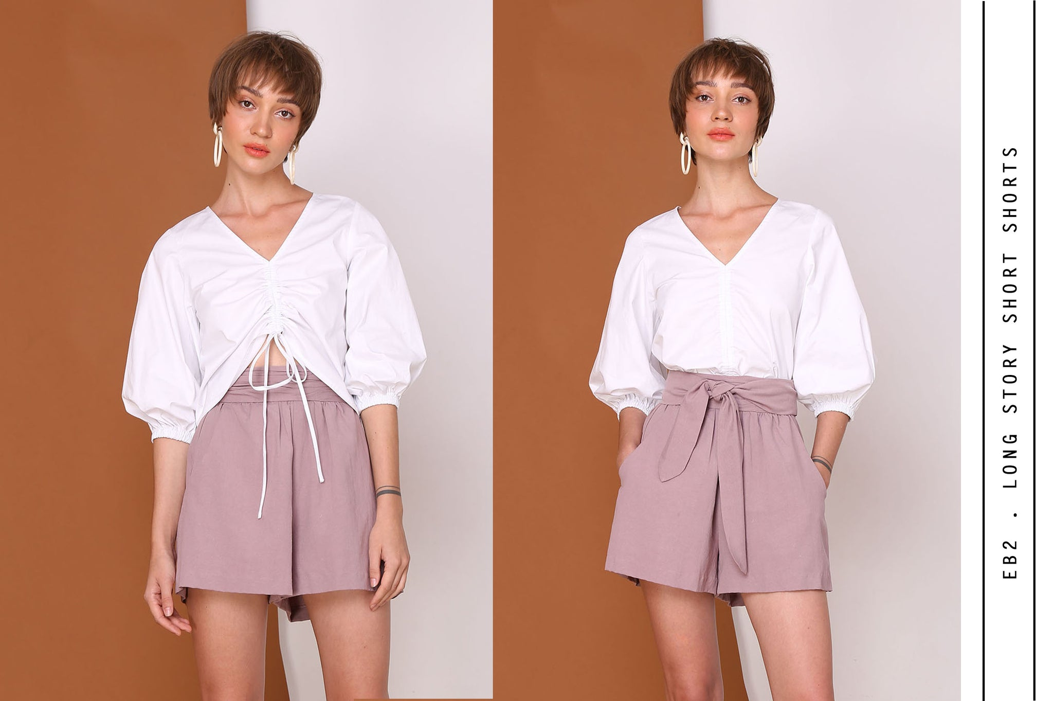Long Story Shorts Linen Cotton Shorts In Lilac