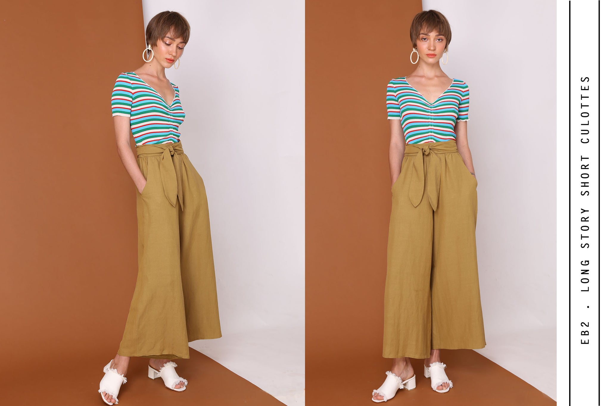 LONG STORY SHORTS High Waisted Linen Cotton Culottes In Olive Green