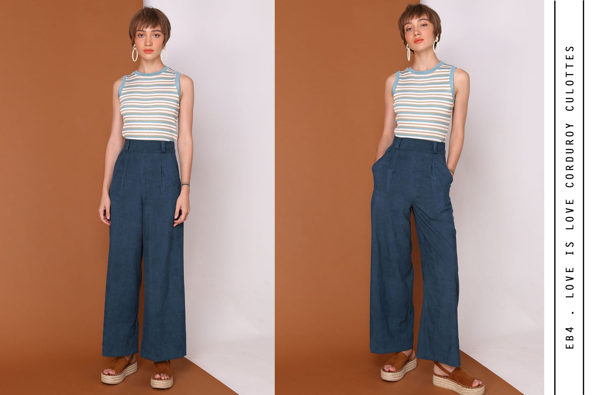 LOVE IS LOVE High Waisted Corduroy Pants In Teal Blue