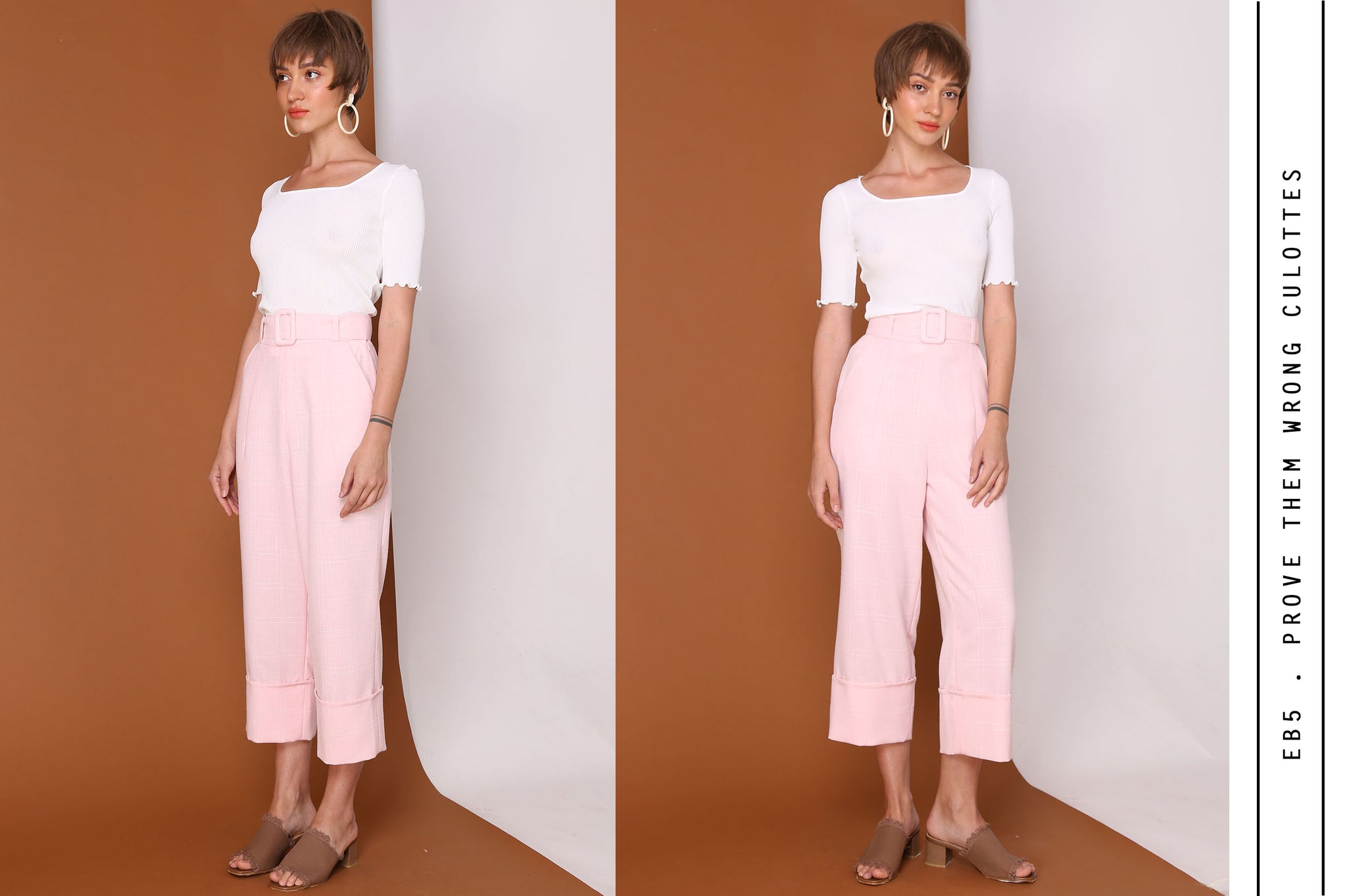 PROVE THEM WRONG Pastel Pink Checkered Culottes With Belt