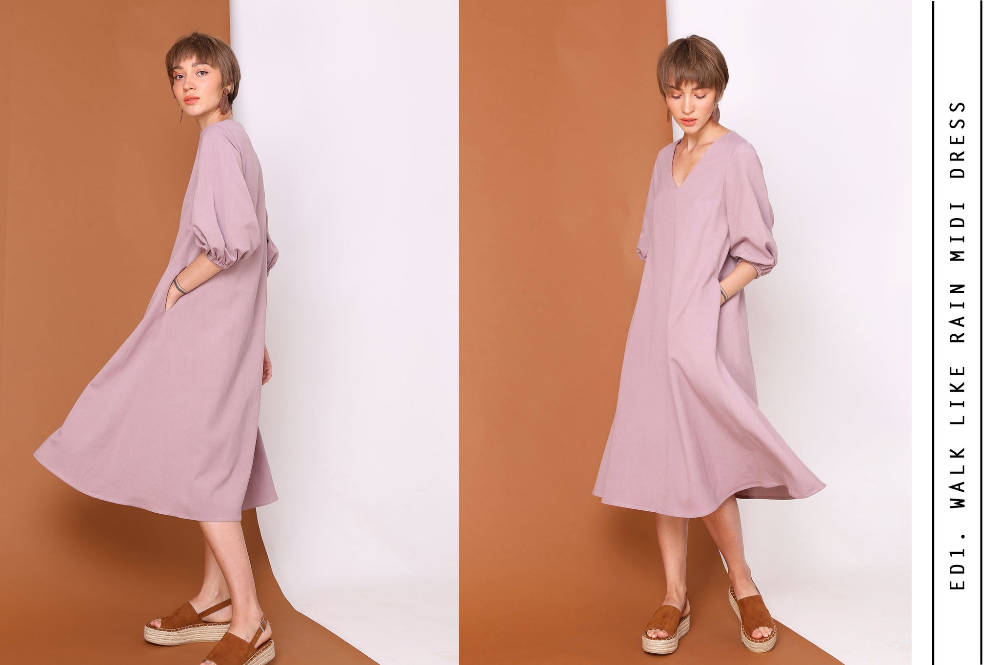 WALKS LIKE RAIN Linen Cotton Midi Dress In Lilac