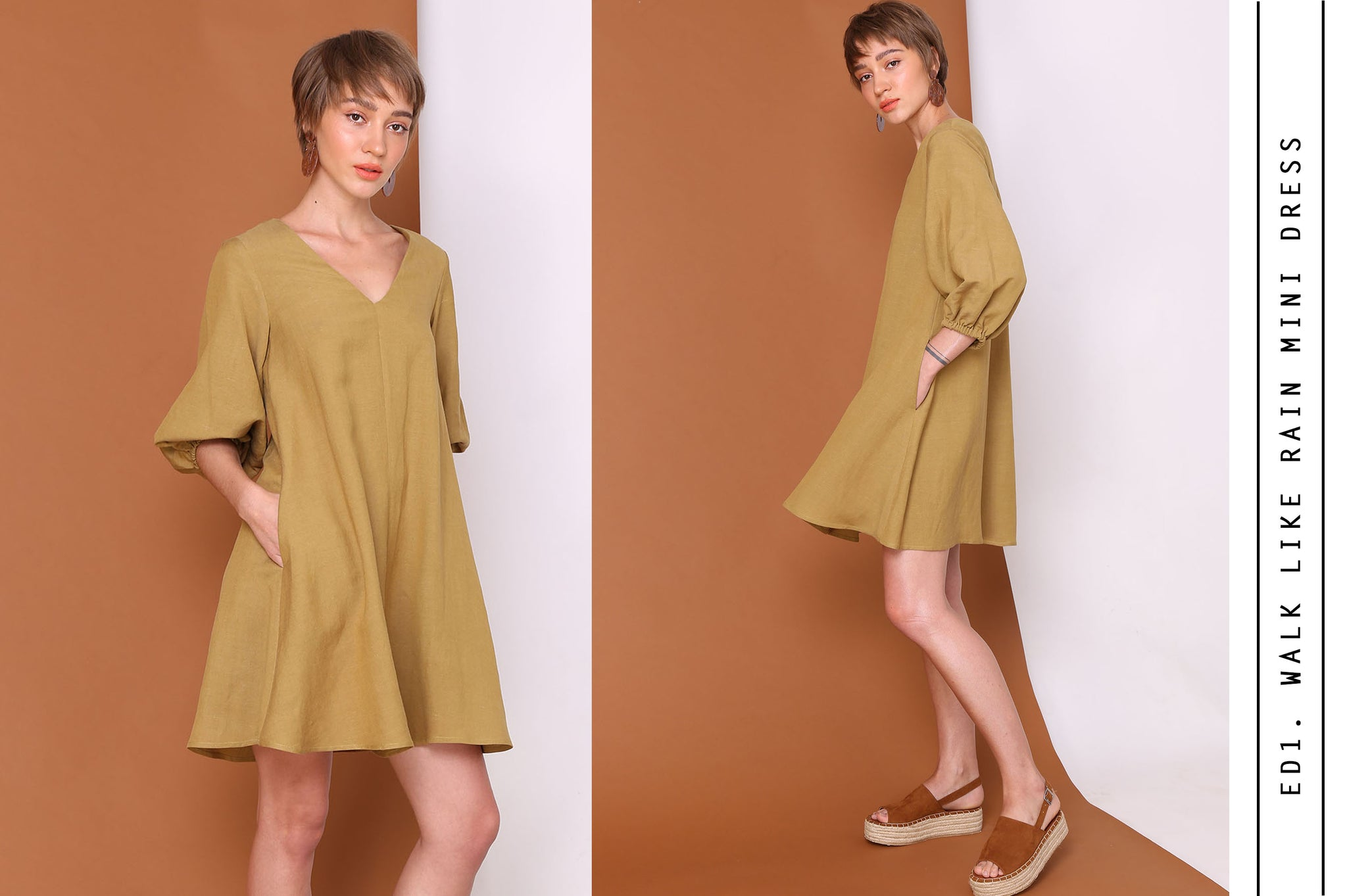 WALKS LIKE RAIN Mini Swing Dress In Olive Linen Cotton