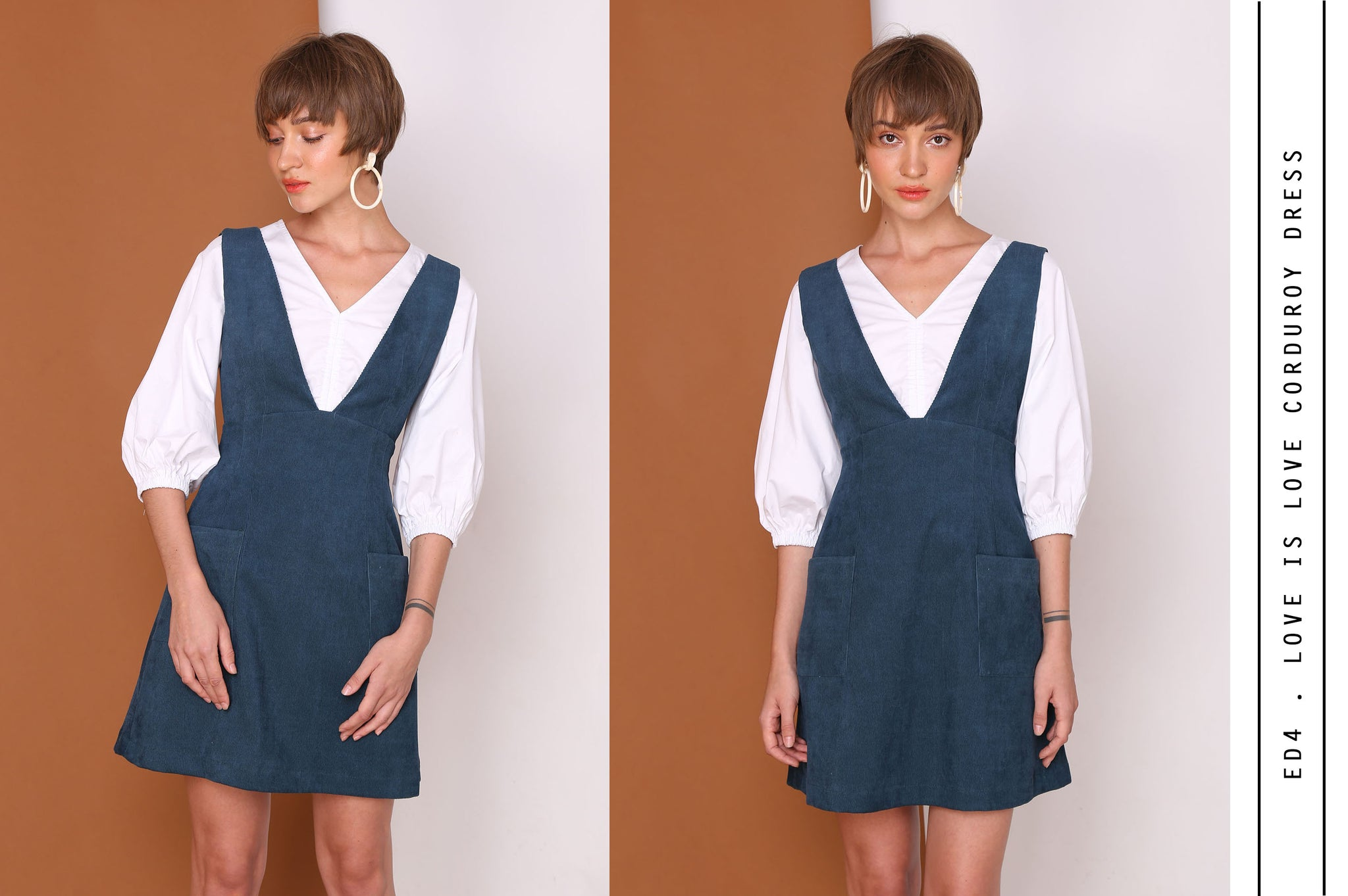 LOVE IS LOVE Corduroy Pinafore Mini Dress