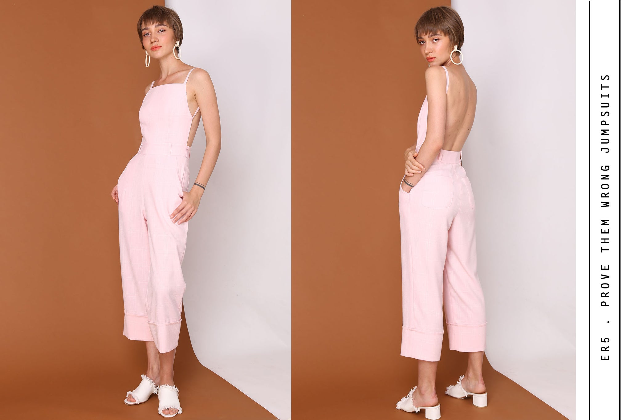 PROVE THEM WRONG Pink Checkered Backless Jumpsuits