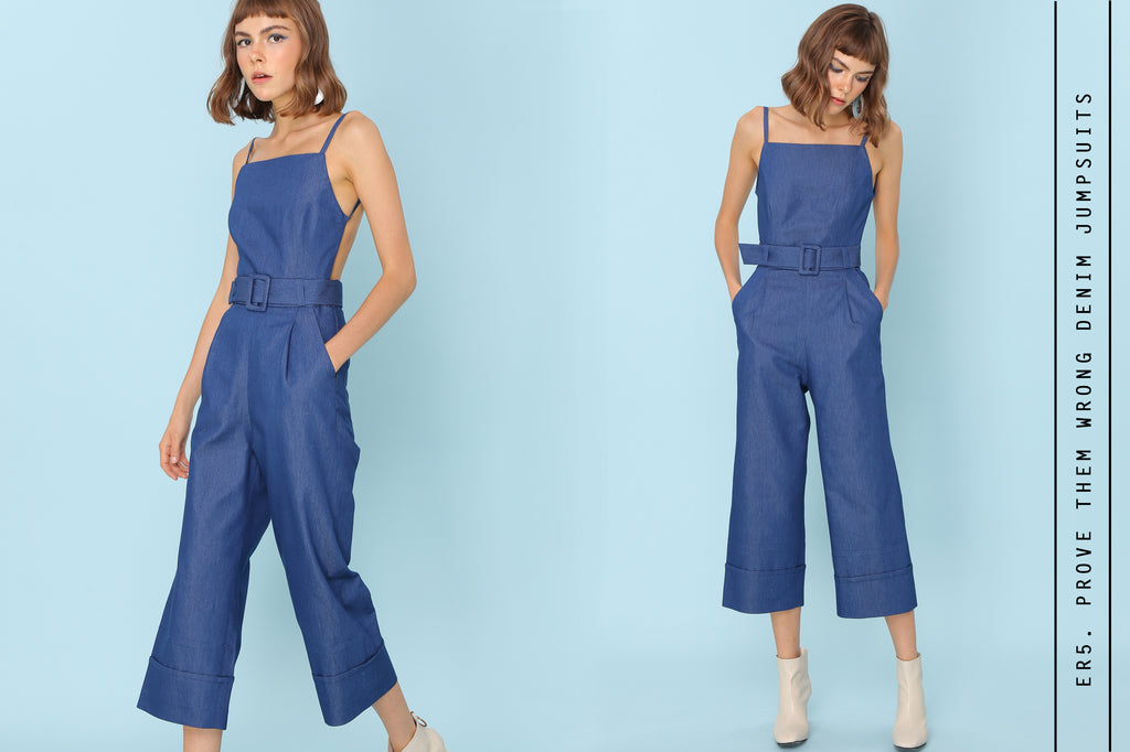 PROVE THEM WRONG Backless Jumpsuits in dark denim