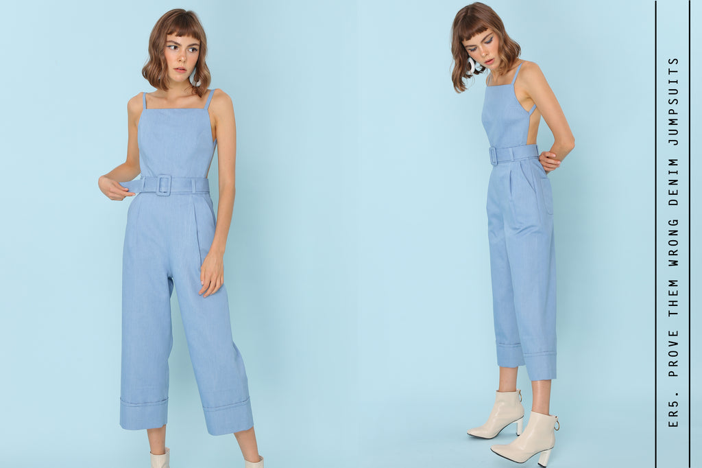 Prove Them Wrong Backless Jumpsuits In Light Denim