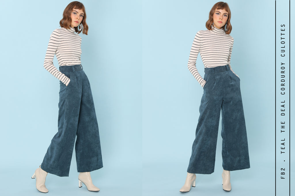 Teal The Deal Corduroy Culotte Pants