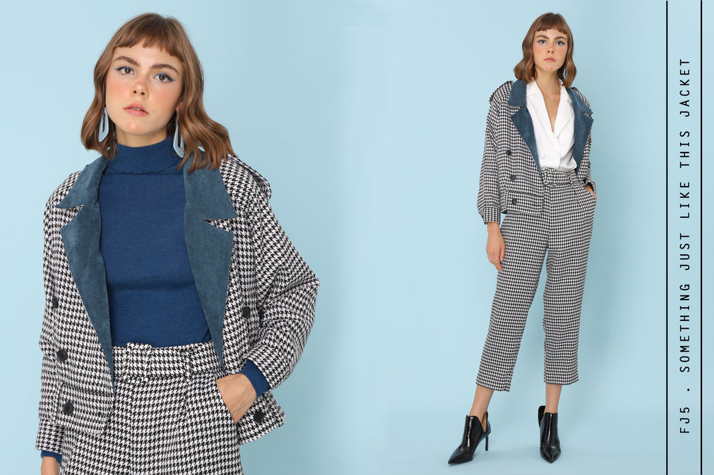 Houndstooth Jacket With Teal Corduroy Collar