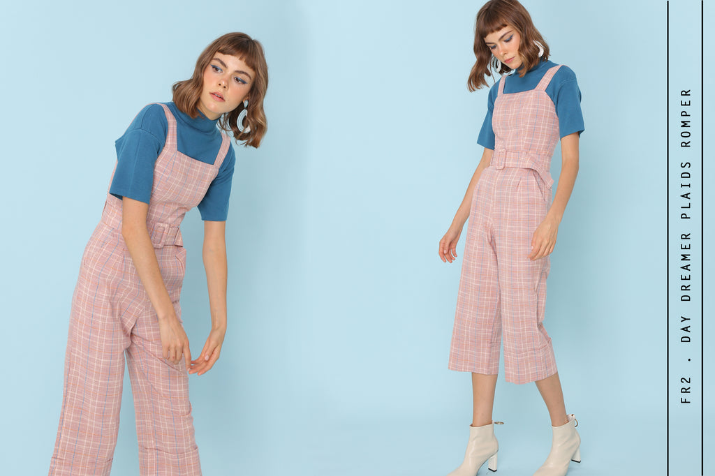 Day Dreamer Pinafore Jumpsuits In Pink Check