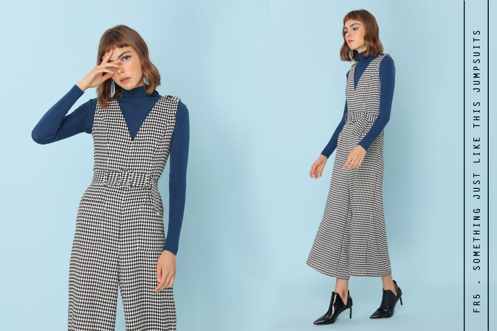 Monochrome Houndstooth Jumpsuits