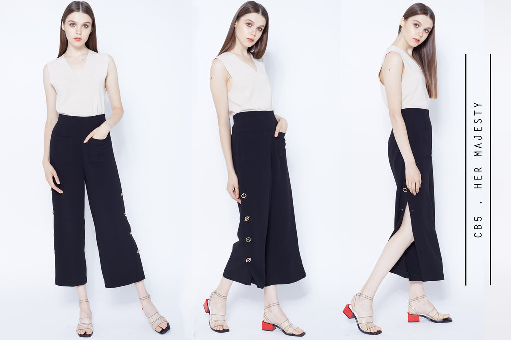 High waisted culottes with side split and gold buttons detail
