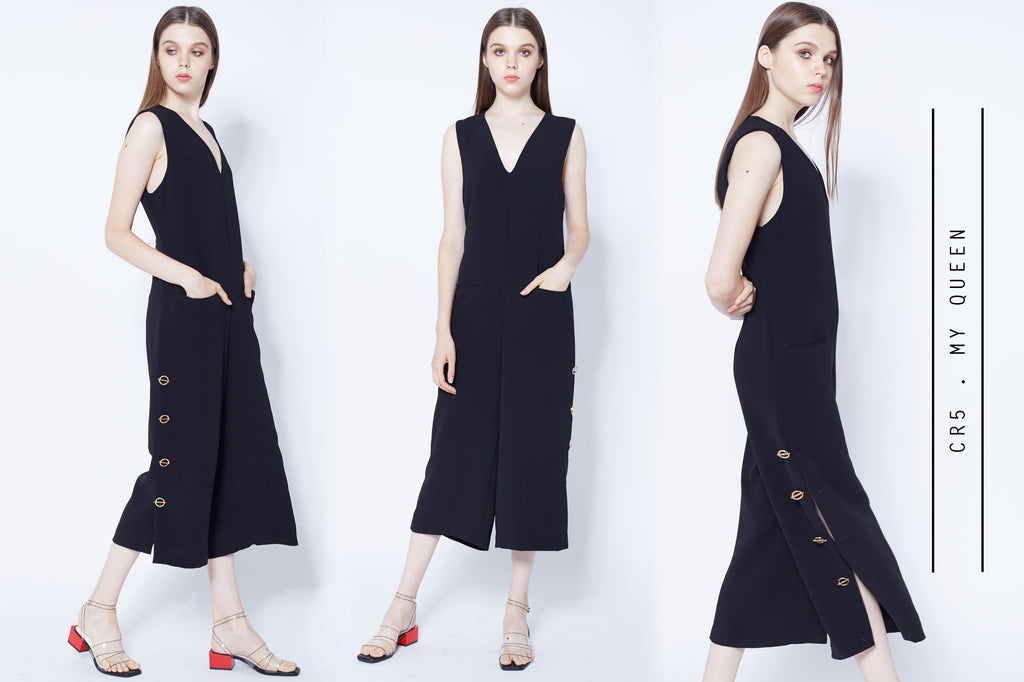 Black culottes jumpsuits with split and gold buttons