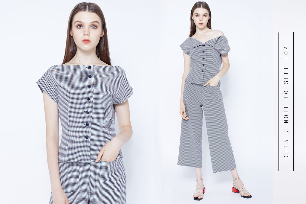 Checkered culottes pants with button front off shoulder top