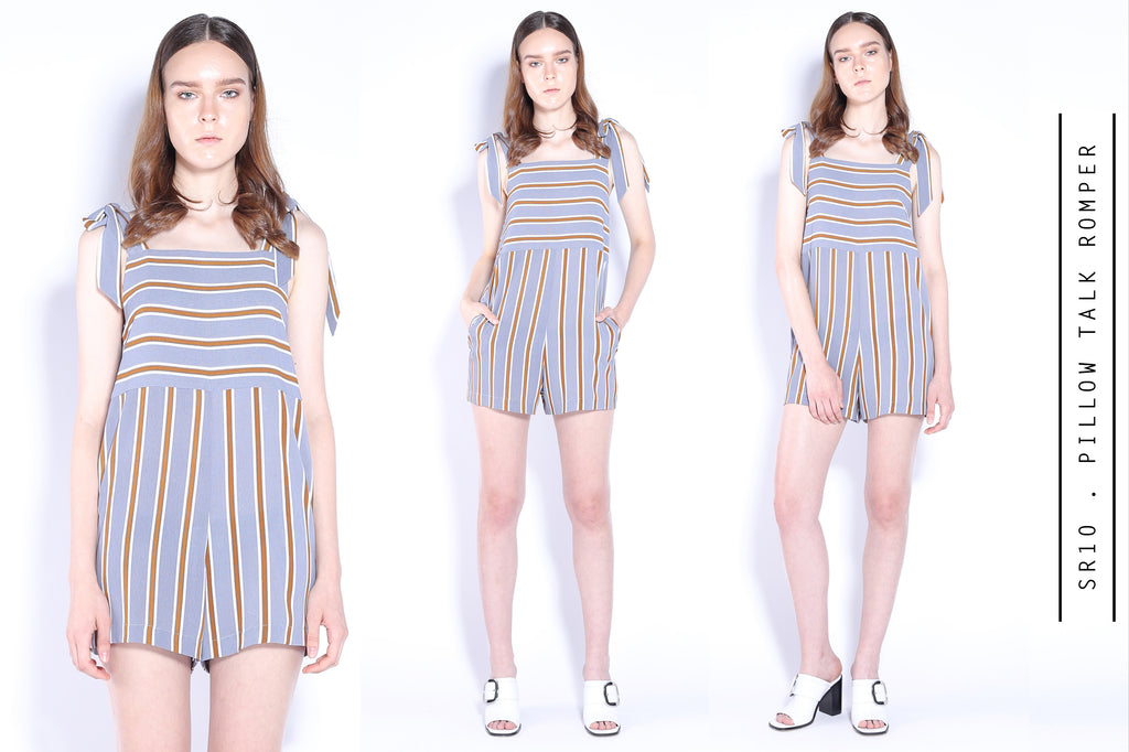 Pillow Talk Bow Tie Stripes Romper