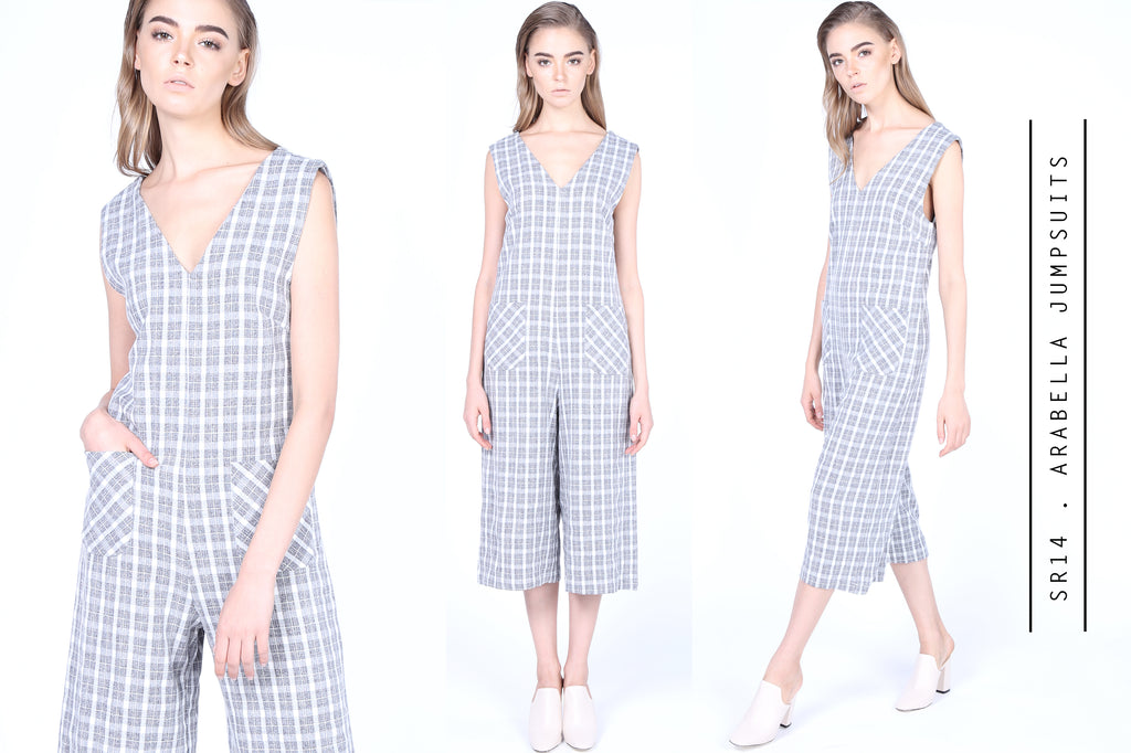 Grey Plaids Arabella Jumpsuits