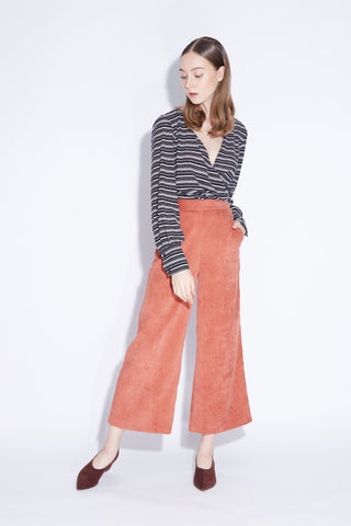 Corduroy Culottes Pants In Brick Orange