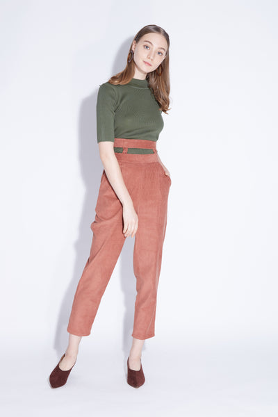 MORE THAN MEETS THE EYE | Corduroy Peg Leg Pants With Cut Out Waist in Brick Orange