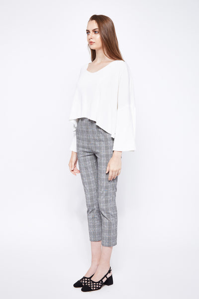QUEEN B | Plaids High Waisted Peg Leg Pants With Pleats Front