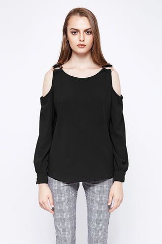 DRAMA QUEEN | Black Gold Buckle Cold Shoulder Blouse