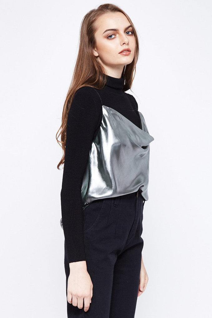 Mirror Metallic Cowl Neck Singlet Top