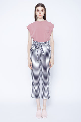LOVE NOT WAR | High Waisted Pleat Front Pants In Gingham