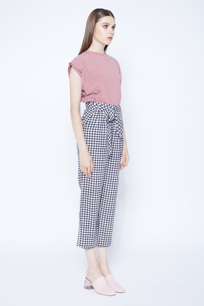 High Waisted Pleat Front Pants In Gingham