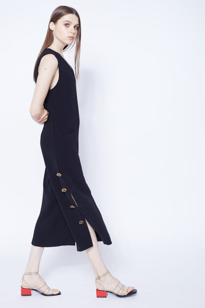 MY QUEEN | Side Slit Culottes Jumpsuits With Gold Buttons