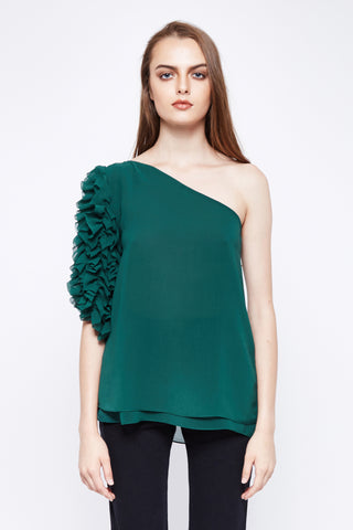 Green Ruffle One Shoulder Top
